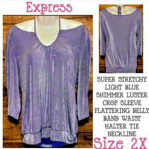 Express Top Size 2X Shimmer Tie Back Crop Sleeve